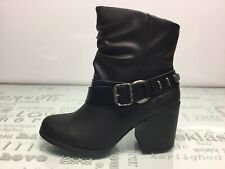 Blowfish WMNS NWB Black Ankle Faux Leather Buckle Heeled Demma Boots Size 7.5…