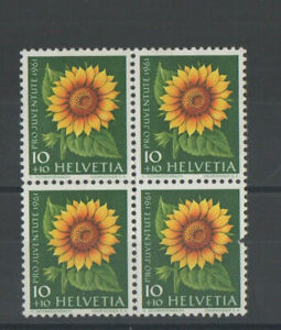 1961 Switzerland Sunflower Stamps Block of Four