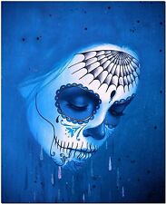 Day of the Dead Sugar Skull Blue High Quality Canvas Print Poster Photo Wall Art