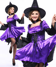 Sexy Purple Witch 3PC(Dress.Necklace.Hat)Halloween Cosplay Costume