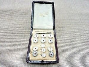 Antique Vintage Cuff Link Stud Set by Ralph Dervey Paris Original Box