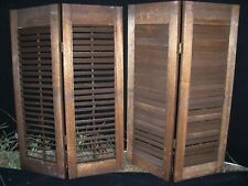 Vintage Interior Wood Window Shutters, movable Louvers, Plantation Set, oak