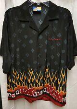 Las Vegas XNT Shirt Mens Size L Black Button Front Camp Shirt Dice Cards Flames