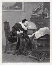 """Impressive John Seymour LUCAS 1800s Engraving """"The Astrologer"""" SIGNED Framed COA"""