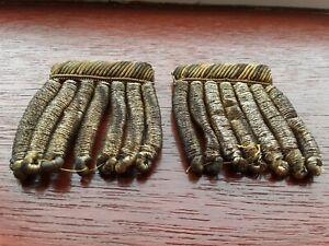 2 antique vintage epaulettes shoulder boards dark gold tassels sewing ceremonial