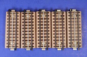 "Lot of 5 Marklin HO Scale Short Straight 3 1/2"" M Tracks w/ Full Center Rail"