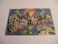VINTAGE POSTCARD GREETINGS FROM OCEAN DRIVE SOUTH CAROLINA LINEN