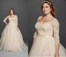 Champagne Vintage Lace Plus Size Wedding Dresses Formal Bridal Gown Custom Made