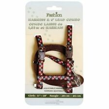 COASTAL CAT BROWN PAW PRINT H HARNESS & LEAD COMBO SAFETY SET. FREE SHIP TO USA