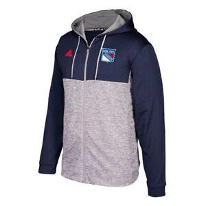 "New York Rangers NHL Adidas Men's Navy Team Authentic Full Zip ""Blocking"" Hoodie"