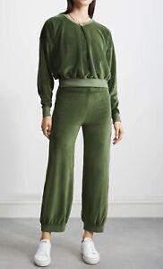 NWT Suzie Kondi Bottle Green Velour Tracksuit XS With Front Pleat Top Harem Pant
