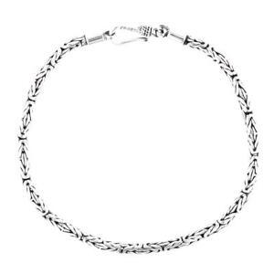2.5mm Byzantine Bali Handmade 925 Sterling Silver Chain Bracelet