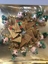 Vintage Christmas Ladies Spun Cotton Heads Chenille Tinsel Japan Lot Of 10 NIB