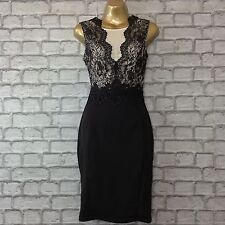 BNWT LIPSY UK 8 MICHELLE KEEGAN BLACK NUDE LACE MESH BODYCON DRESS RRP £65.00