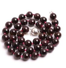 "Handmade 8mm Natural Wine Red Garnet Round Gemstone Beads Necklace 18"" AAA"