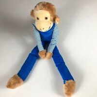 "Interpur Plush Monkey VTG Large Stuffed 21"" Attachable Hands Orange Eyes Overall"