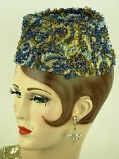 VINTAGE HAT 1960s, IRENE OF NEW YORK for SAKS FIFTH AVE, BEADED BROCADE PILLBOX
