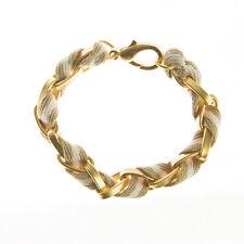 JOOMI LIM Tan & White Stripe Cotton Woven Chainlink Bracelet $120 NEW