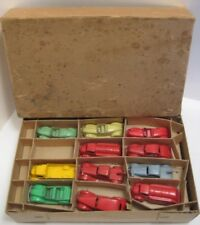 Antique Tootsie Toy Store Box & 11 Metal Toy Cars White Rubber Wheels 1930s RARE