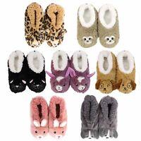 SLUMBIES - FURRY FOOT PALS CRITTERS - Women's Soft Slippers Socks Non-Slip **NEW