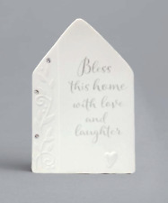 Bless this House with Love and Laughter Heart Plaque Porcelain Enesco