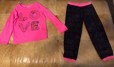 Oshkosh girls two piece pajama set Pencils Love size 6 Pink Black