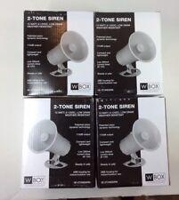 4 Lot W Box Security 2-Tone Siren 15 Watt, 6-12Vdc Weather Resistant Alarm