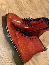 NEW Doc Martens 1460 Delaney Red Glitter Boots Woman's Size 6