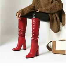 Womens Fashion PU Leather Embossed Block Heel Knee High Slouchy Boots Shoes SKGB