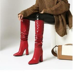 Womens Fashion PU Leather Embossed Block Heel Knee High Slouchy Boots Shoes GICI