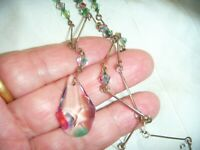 ANTIQUE ART DECO Czech Watermelon Iris Crystal Vintage Lavaliere Drop NECKLACE