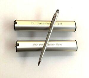 Eleganter Metall Kugelschreiber mit Stylus und Ihrer Gravur auf Kuli und Etui