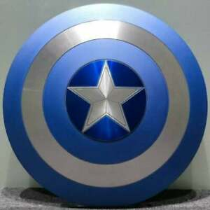 Marvel Blue Metal Captain America Shield, Round Shield Replica- Decor Shield