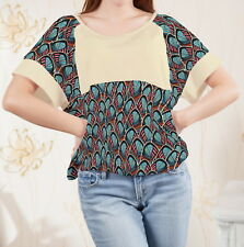 Ornate Feathers Paisley Women Loose-fitting Splicing Top Blouse b122 acr03216