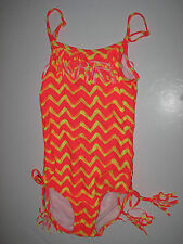 Billabong Girls 7/XS 1 Pc Bikini Swimsuit Neon Bright Orange Yellow Fringe