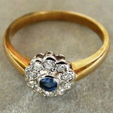 ** NEW ** 9ct Gold Sapphire Diamond Flower Cluster Ring Size Q 8