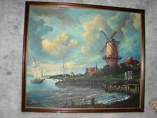 vintage Dutch Holland Wind Mill with Boat Oil Art Painting ~ windmill by artist
