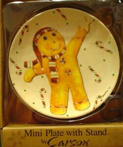"""Holiday 5"""" Mini Plate w/Stand--Carson Home Accent-GINGERBREAD Man w/Candy Canes"""