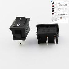 Black RLEIL Rocker Switch On/Off 2 Pin 2 Position DPST 10A/6A 125V/250V AC RL3