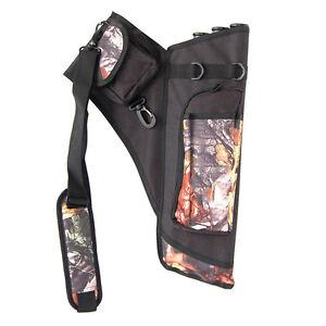camo Archery Arrow Quiver 24 Arrow Bag Back Shoulder Side 4 Tube Detachable