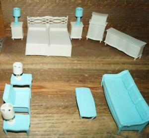 Lot of 15 Piece MPC Dollhouse Bedroom ensuite Baby Blue & Ivory Set Furniture