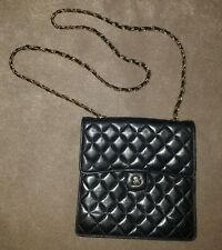 Jay Herbert small black quilted crossbody bag purse long gold chain soft leather