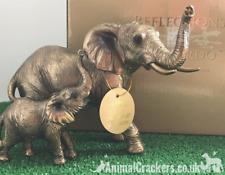 Bronzed Elephant and Calf quality ornament figurine Leonardo Bronzed. Gift boxed