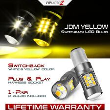 """WHITE+JDM YELLOW"" 1157 BAY15D 7528 Switchback Turn Signal Dual LED Light Bulbs"