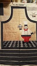"""Cotton Apron - """"In The Kitchen"""" Willmington Prints - Chef Black & White"""