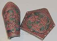 Leather Norse Bracers fully Tooled with Celtic Knot and Dragon Images. LARP