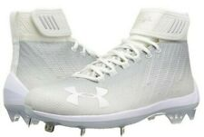 UNDER ARMOUR HARPER 2 MID ST BASEBALL CLEATS WHITEOUT 1297307-100 MENS SIZE 8