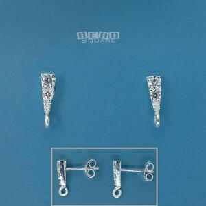 2PC Sterling Silver CZ Crystal Triangle Stud Post Earrings w/Open Loop #33535
