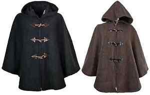 Womens Ladies Warm Fleece Fleecy Hooded Cape Ponchos Loose Fit Size 14-26