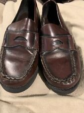 Sonoma Size 13 Youth Brown Leather Upper Slip On Dress Shoes Fancy